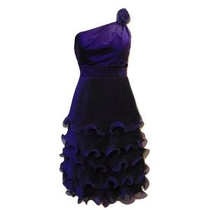 Phoebe Couture one shoulder ruffled purple dress